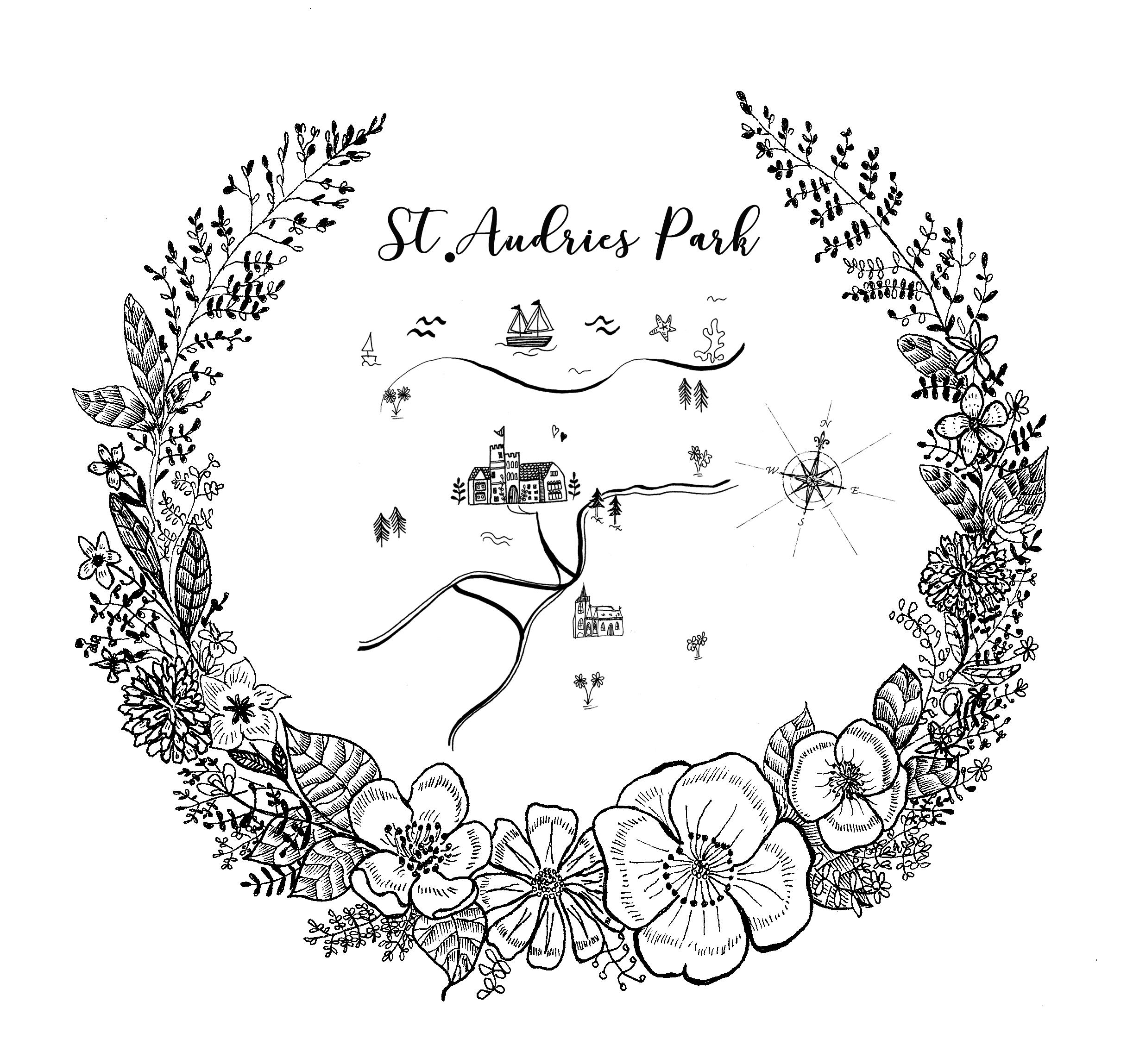 Wedding Map and Floral Illustration Design 2017.