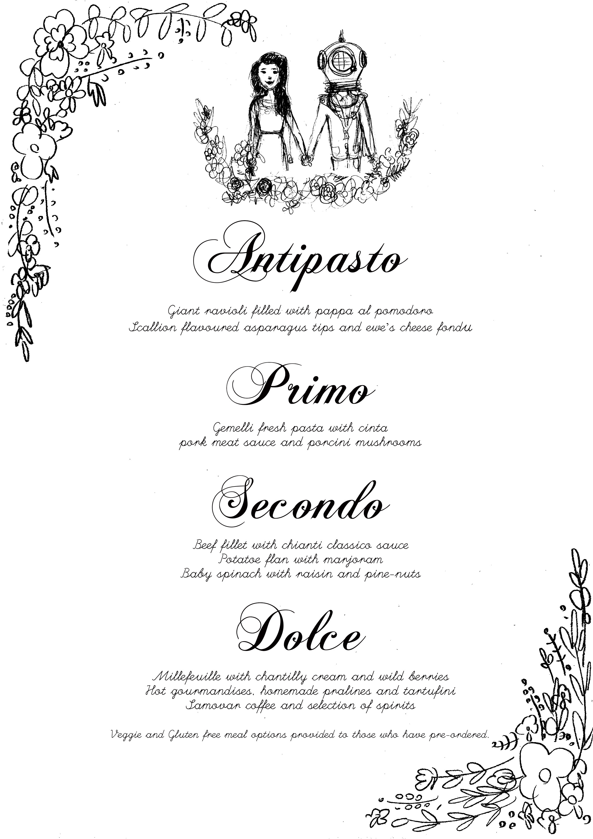 Wedding Breakfast Illustration and typography 2016.