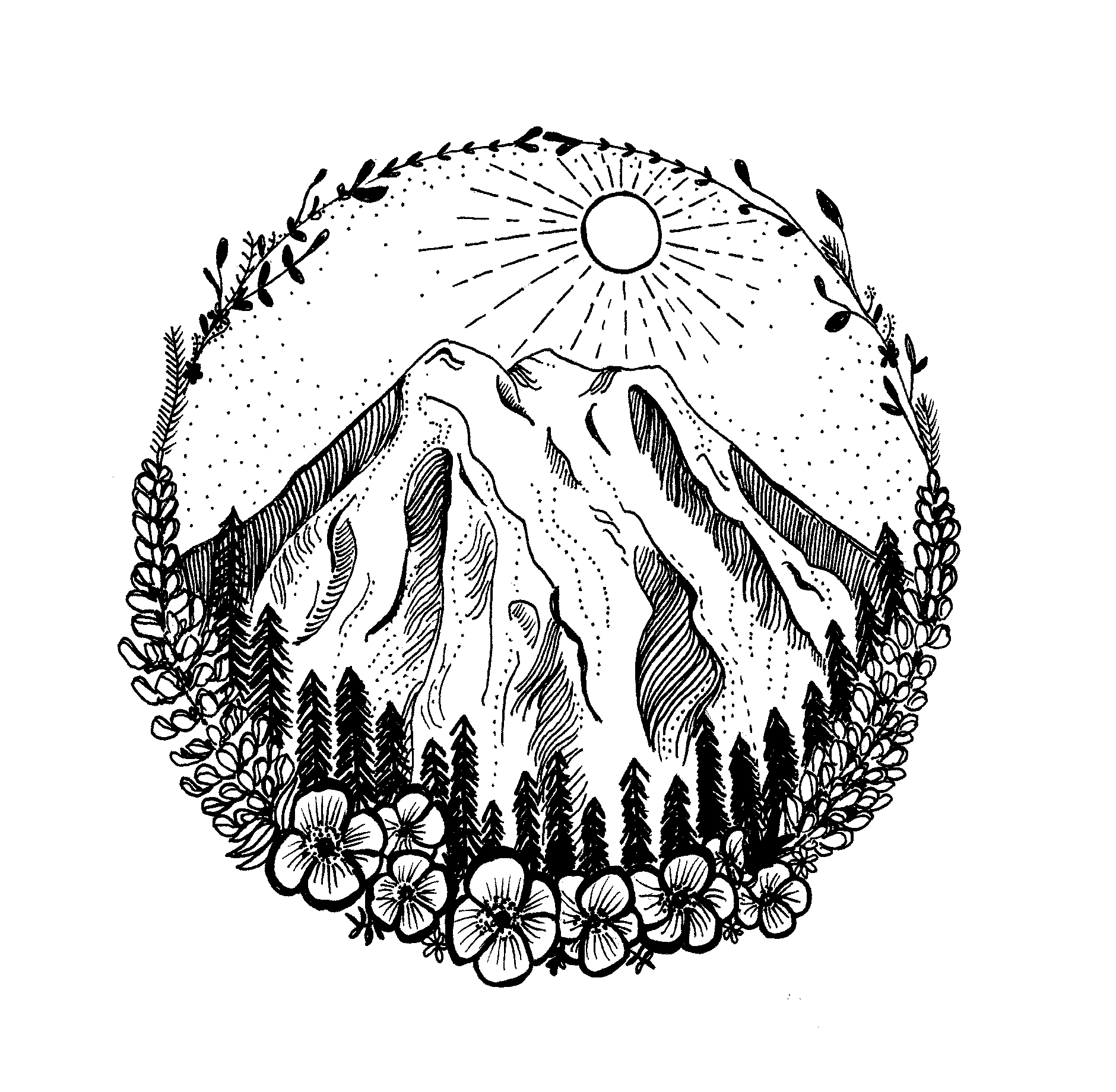 Mountain and Floral Tattoo design 2016.