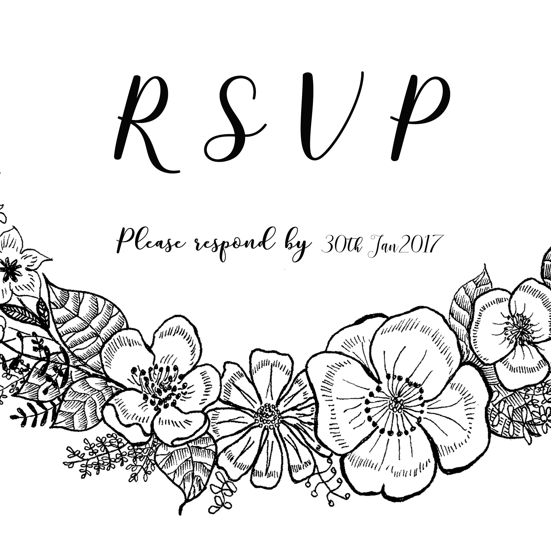 Floral Details and R.S.V.P for Wedding set 2017.
