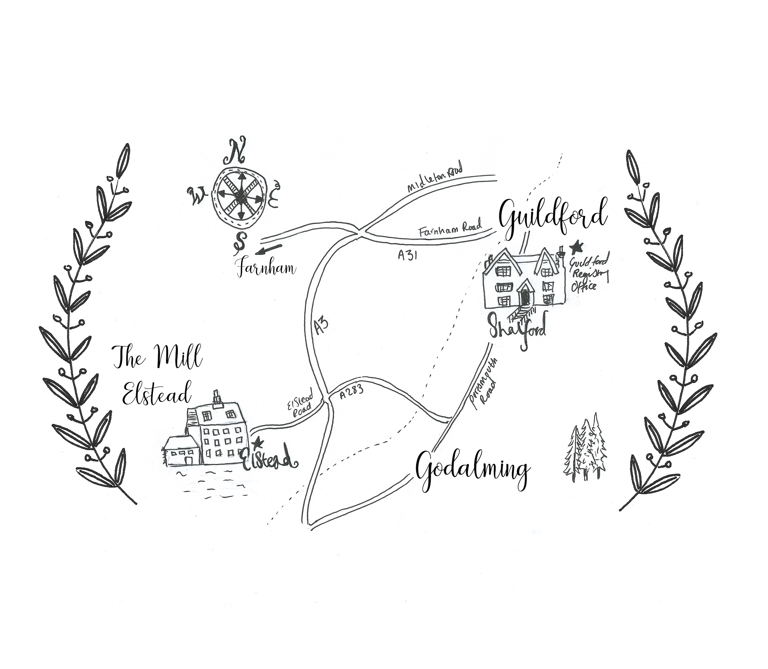 The Mill Elstead Wedding Map, Guildford Registry Office 2014.