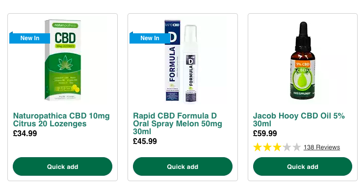 A screenshot taken of just a few of the CBD products available on Holland & Barrett's website.