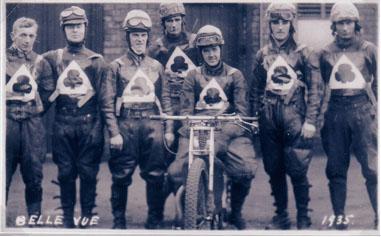 belle vue aces 1935 - Tommy Allott, Bill Kitchen, Joe Abbott, Eric Blain, Eric Langton (capt.), Bob Harrison, Max Grosskreutz.