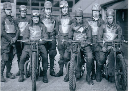 belle vue merseysiders 1937 - Tommy Price, Len Eyre, Charlie Oates, Stan Hart, Oliver Hart, Eric Blain, Ernie Price, Alan Butler.