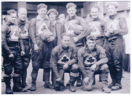 belle vue aces 1947 - Wally Lloyd, Jim Boyd, Jack Parker (capt.) Alice Hart (manager), Ron Mason, Eric Langton, Dent Oliver, Bill Pitcher, Louis Lawson