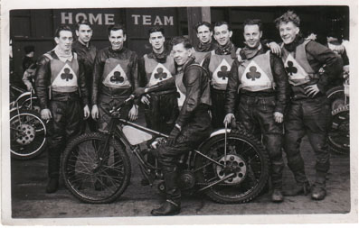 belle vue aces 1951 - Ken Sharples, Bob Serrurier, Val Morton, George Smith, Jack Parker (capt.), Ron Johnston, Henry Long, Ron Mason, Louis Lawson