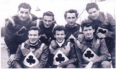 belle vue aces 1965 - Gordon McGregor, Dick Fisher, Jim Yacoby, Cyril Maidment, Sandor Levai, Norman Nevitt.