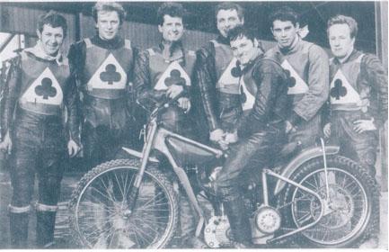 belle vue aces 1969 - Chris Pusey, Bill Powell, Norman Nevitt, Dave Hemus, Tommy Roper (capt.) Ivan Mauger, Soren Sjosten