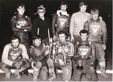 belle vue colts 1969 - Mike Hiftle, Colin Goad, Taffy Owen, Ken Eyre, Chris Bailey (capt.), Steve Waplington, Alan Middleton (team manager), Eric Broadbelt, Ken Moss