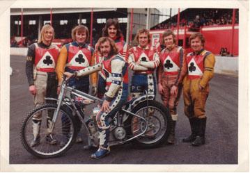 belle vue aces 1974 - Ian Hindle, Alan Wilkinson, Chris Pusey (capt.), Paul Tyrer, Peter Collins, Chris Morton, Soren Sjosten.