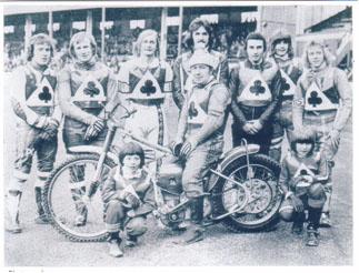 belle vue aces 1975 - Peter Collins, Alan Wilkinson, Ian Hindle, Soren Sjosten (capt.), Paul Tyrer, Alan Grimshaw, Chris Turner, Chris Morton