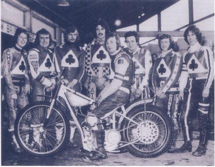 belle vue aces 1976 - Chris Morton, Peter Collins, Kristian Praestbro, Paul Tyrer, Alan Wilkinson, Les Collins, Russ Hodgson.