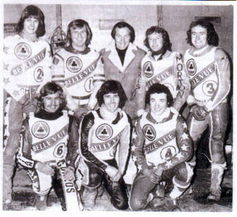 belle vue aces 1977 - Chris Turner, Kristian Praestbro, Alan Wilkinson, Russ Hodgson, Eric Boocock (team manager), Chris Morton, Les Collins, Peter Collins