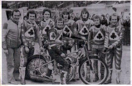 belle vue aces 1978 - Eric Boocock (team manager), Les Collins, Jim Brett, Alan Wilkinson (capt.), Chris Turner, Derek Richardon, Chris Morton, Peter Collins