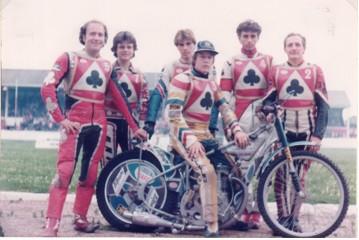 belle vue aces 1982 - Peter Collins, Andy Smith, Peter Carr, Chris Morton (capt.), Louis Carr, Jim McMillan