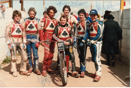 belle vue aces 1983 - Andy Smith, Peter Carr, Louis Carr, Chris Morton (capt.), Kenny McKinna, Larry Ross, Peter Collins.