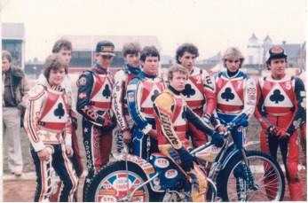 belle vue aces 1983 - Andy Smith, Kenny McKinna, Peter Ravn, Martin Scarisbrick, Larry Ross, Chris Morton (capt.), Louis Carr, Peter Carr, Peter Collins.