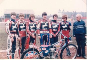 belle vue colts 1983 - Martin Scarisbrick, Lee Edwards, Paul Heyes, Garry Clegg, Peter Clegg, Dave Wild, Ted Connor (manager)