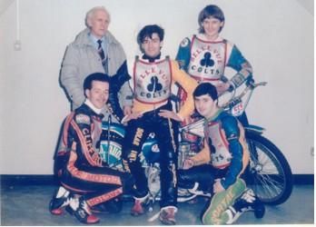 belle vue colts 1984 - Glenn Hornby, Ted Connor (manager), Barry Ayres, Lee Edwards, John Smee