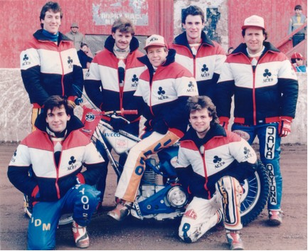 belle vue aces 1986 - Barry Ayres, Kenny McKinna, Carl Blackbird, Chris Morton (capt.), Declan Eccles, Andy Smith, Peter Collins.