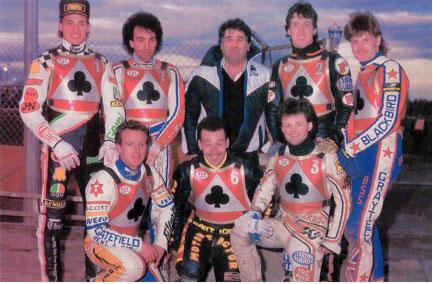 belle vue aces 1987 - Peter Ravn, Chris Morton (capt.), Paul Thorp, Glenn Hornby, Stuart Bamforth (promotor), Andy Smith, Kenny McKinna, Carl Blackbird