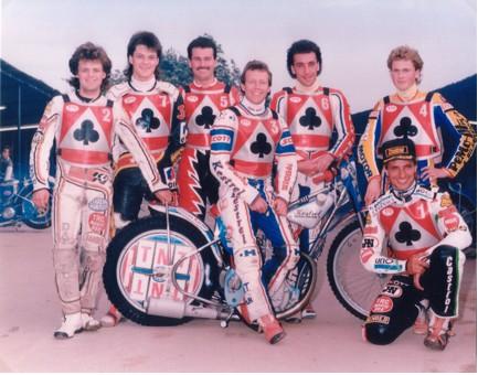 belle vue aces 1988 - Andy Smith, Paul Smith, Mike Faria, Chris Morton (capt.), Paul Thorp, Roland Danno, Peter Ravn.
