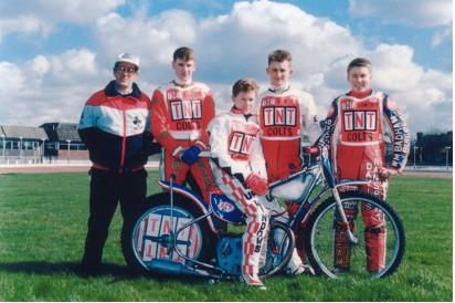 belle vue colts 1989 - Gordon Smith (manager), Joe Screen, Scott Smith, Mike Lewthwaite, Carl Stonehewer