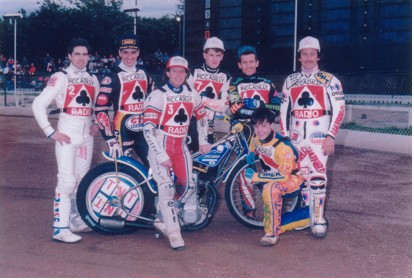 belle vue aces 1990 - Bobby Ott, Peter Ravn, Chris Morton (capt.), Joe Screen, Kelly Moran, Richard Musson, Shawn Moran