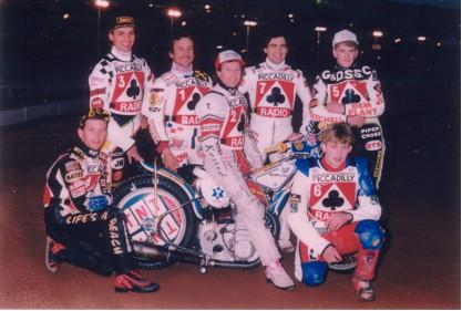 belle vue aces 1990 - Kelly Moran, Peter Ravn, Shawn Moran, Chris Morton (capt.), Bobby Ott, Mike Lewthwaite, Joe Screen