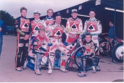 belle vue aces 1991 - Nigel Leaver, Carl Stonehewer, Neil Collins, Shawn Venables, Shawn Moran (capt.), Joe Screen, Kelly Moran, Daz Sumner
