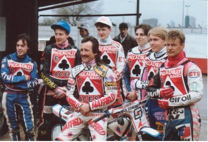 belle vue aces 1991 - Richard Musson, Nigel Leaver, Shawn Moran (capt.), Joe Screen, Max Schofield, Carl Stonehewer, Neil Collins