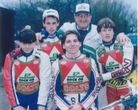 belle vue colts 1991 - Jon Armstrong, Shawn Venables, Max Schofield, Eric Wilson (Rock Oil Sponsor), Bobby Graham.