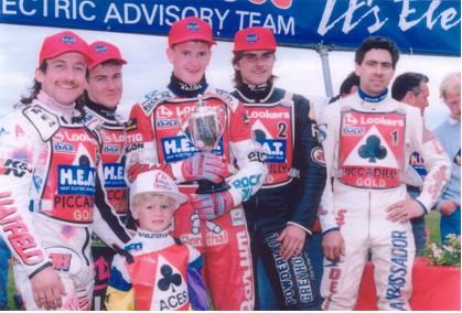 belle vue aces 1992 - Shawn Moran, Jason Lyons, Joe Screen, Frede Schott, Bobby Ott