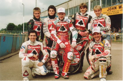 belle vue aces 1992 - Bobby Ott, Jason Lyons, Paul Smith, Joe Screen (capt.), Frede Schott, Shawn Moran, Carl Stonehewer