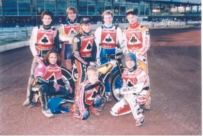 belle vue aces 1994 - Paul Smith, Peter Carr, Frede Schott, Jason Lyons (capt.), Michael Coles, Chris Manchester, Niklas Klingberg