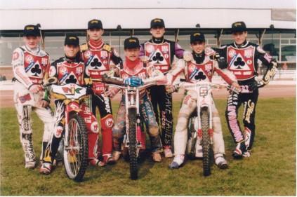 belle vue aces 1996 - Phil Knowles, Chris Manchester, Niklas Klingberg, Neil Collins (capt.), Frede Schott, Andre Compton, Jason Lyons