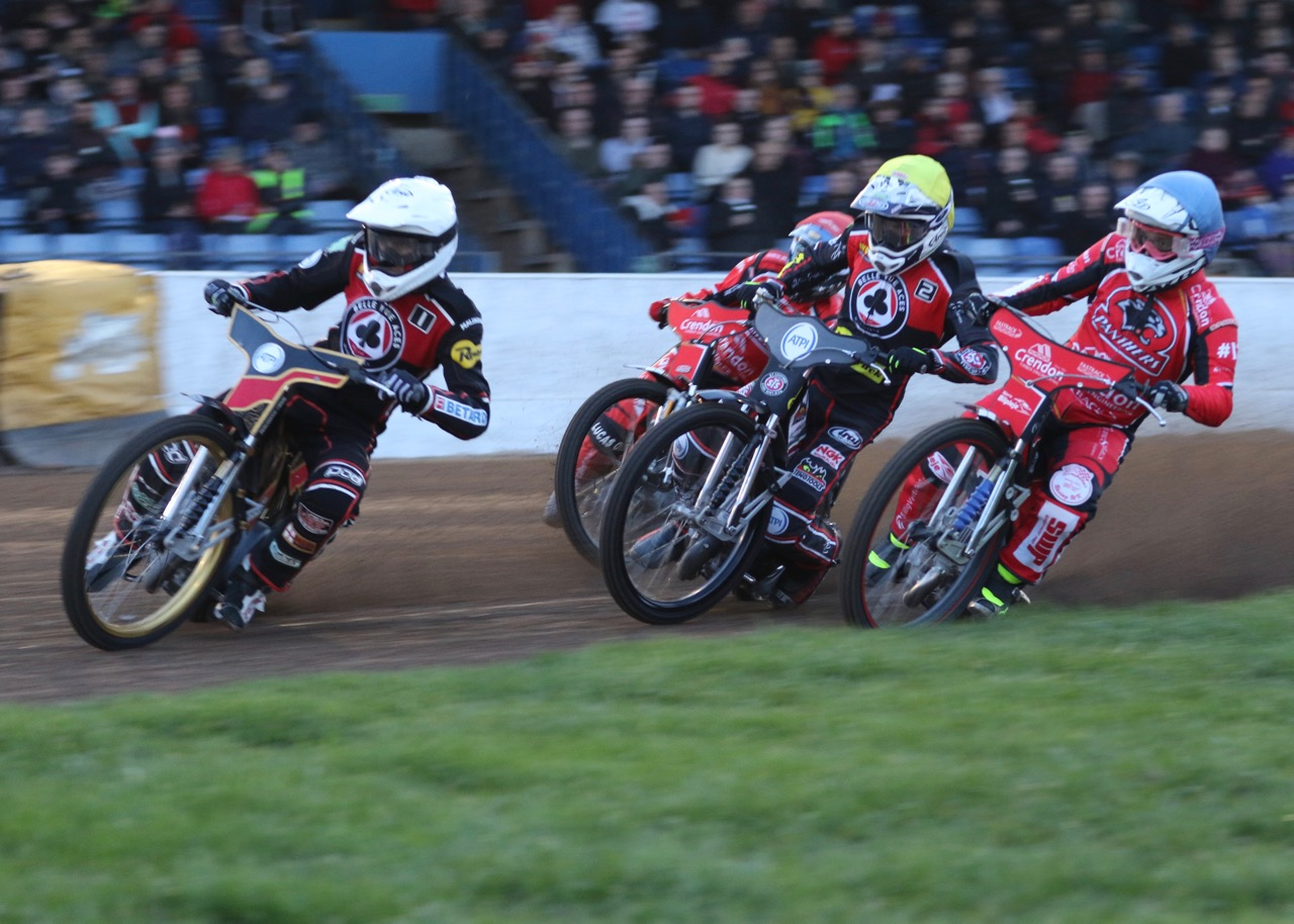 Max Fricke (white) took charge early doors at the East of England Showground with a paid 14+1 maximum