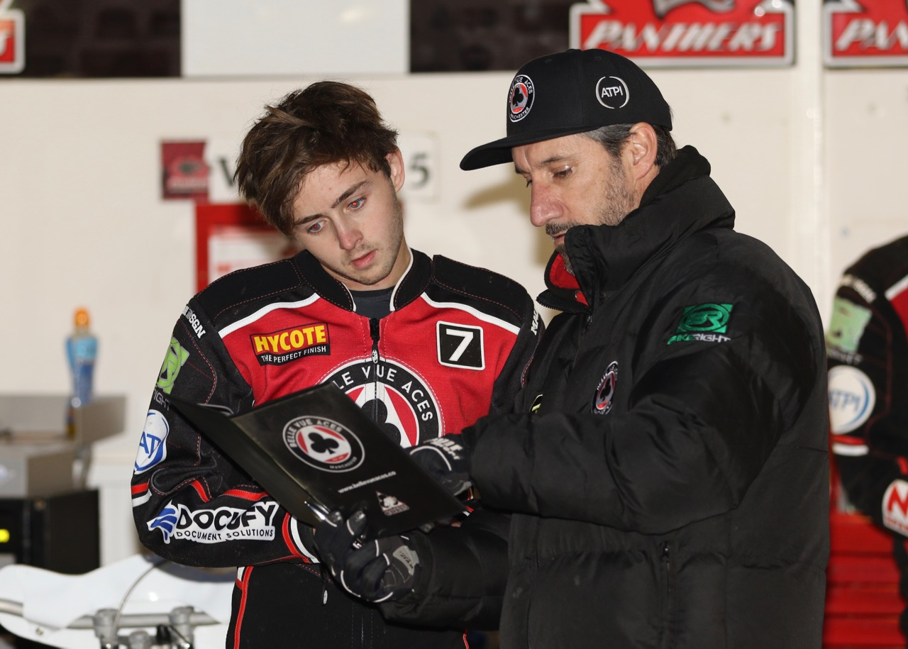 Jaimon Lidsey with team manager Mark Lemon during Monday's 42-48 win at Peterborough