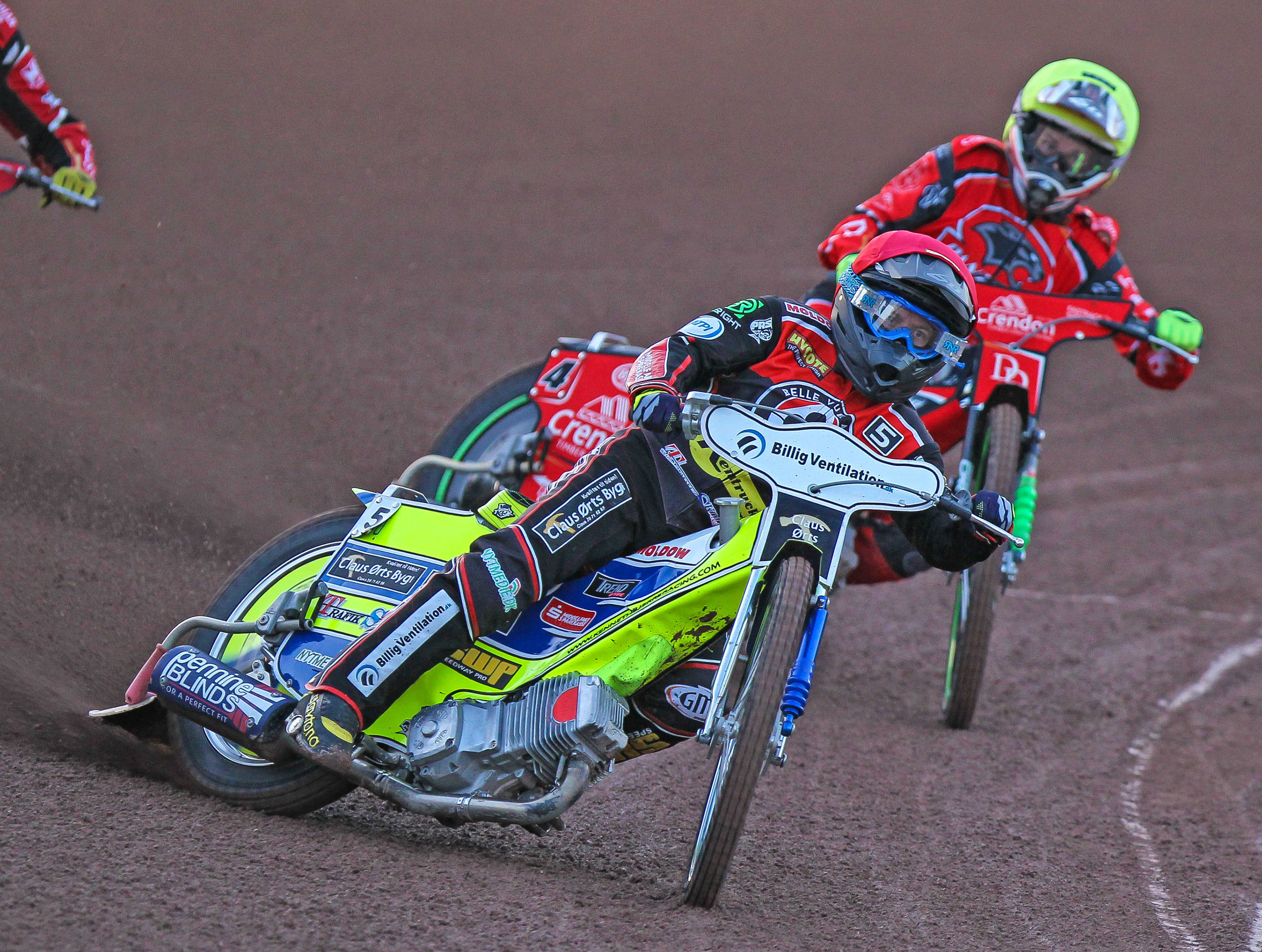 Kenneth Bjerre in action during Belle Vue's 50-40 win against Peterborough