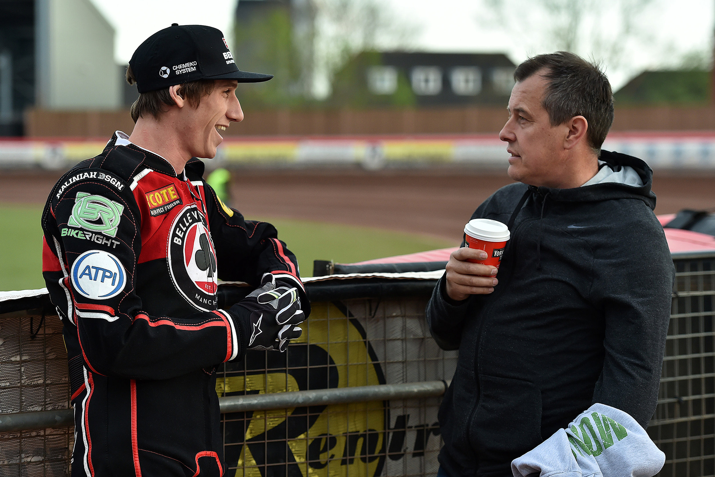 Max Fricke contemplates Belle Vue's win over Peterborough with TT legend John McGuiness