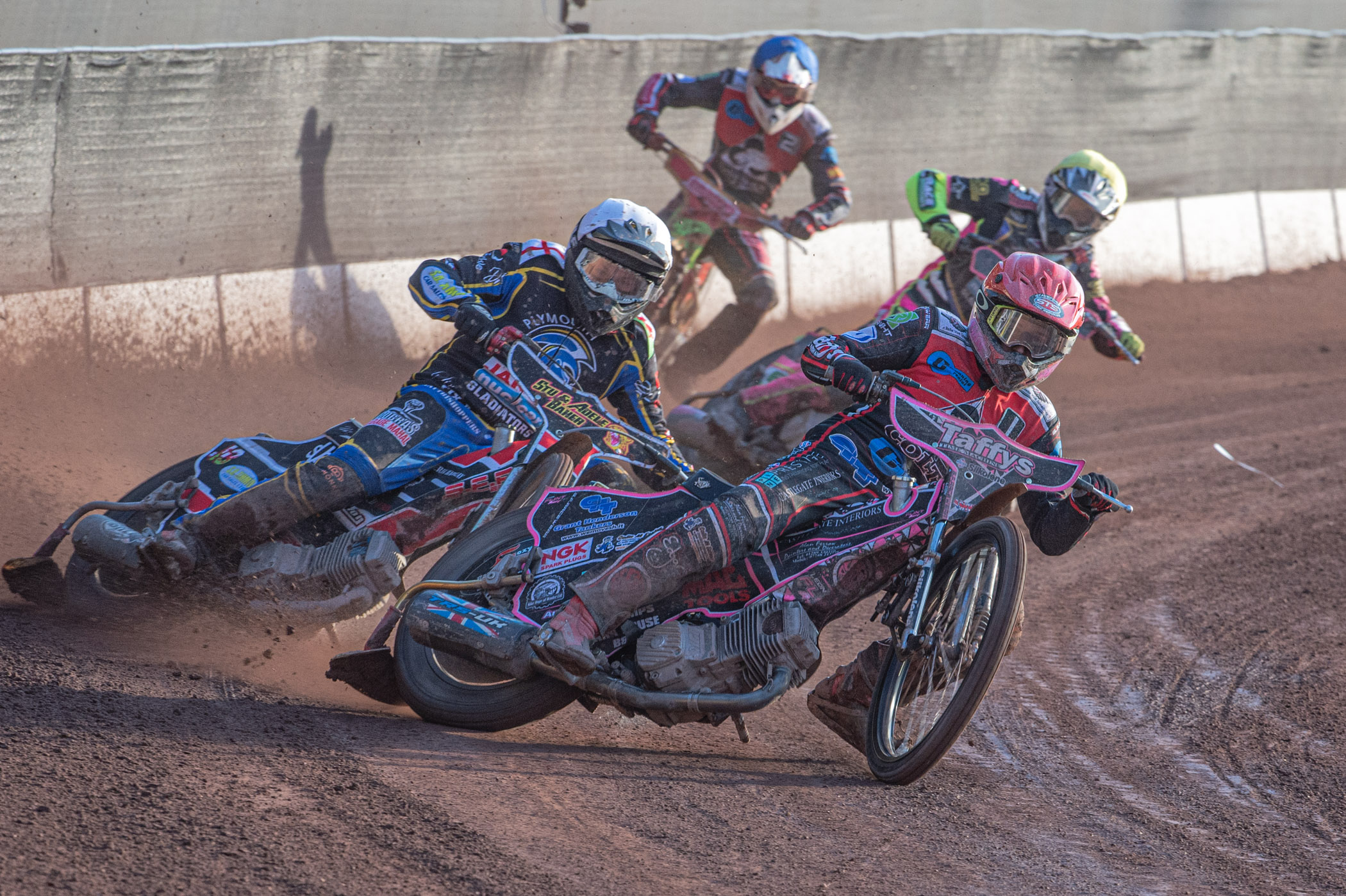 Leon Flint charges to the front in the Belle Vue Colts' close encounter with Plymouth