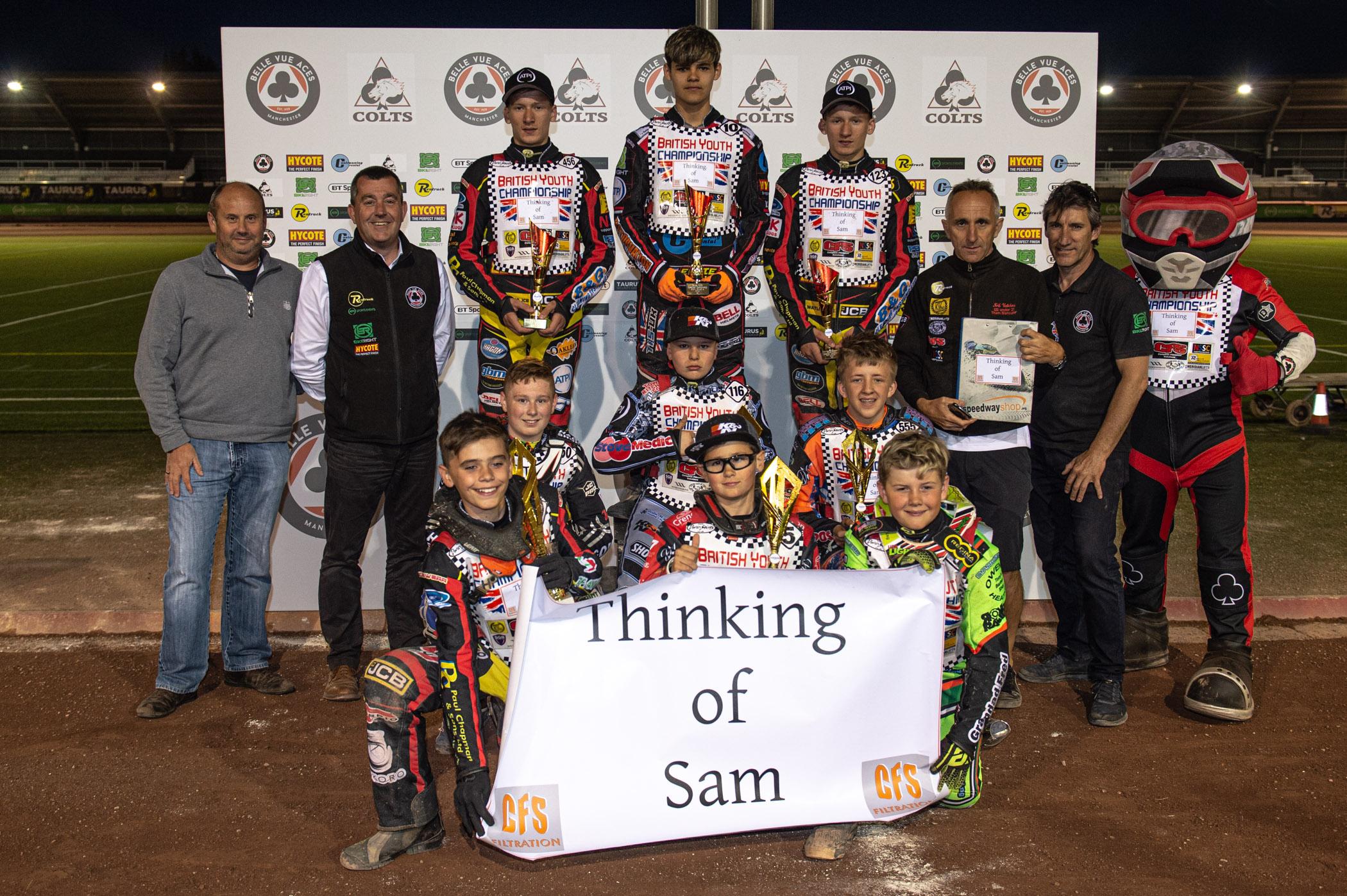 The final podium of the night with the top three of the 125/150cc, 250cc and 500cc categories