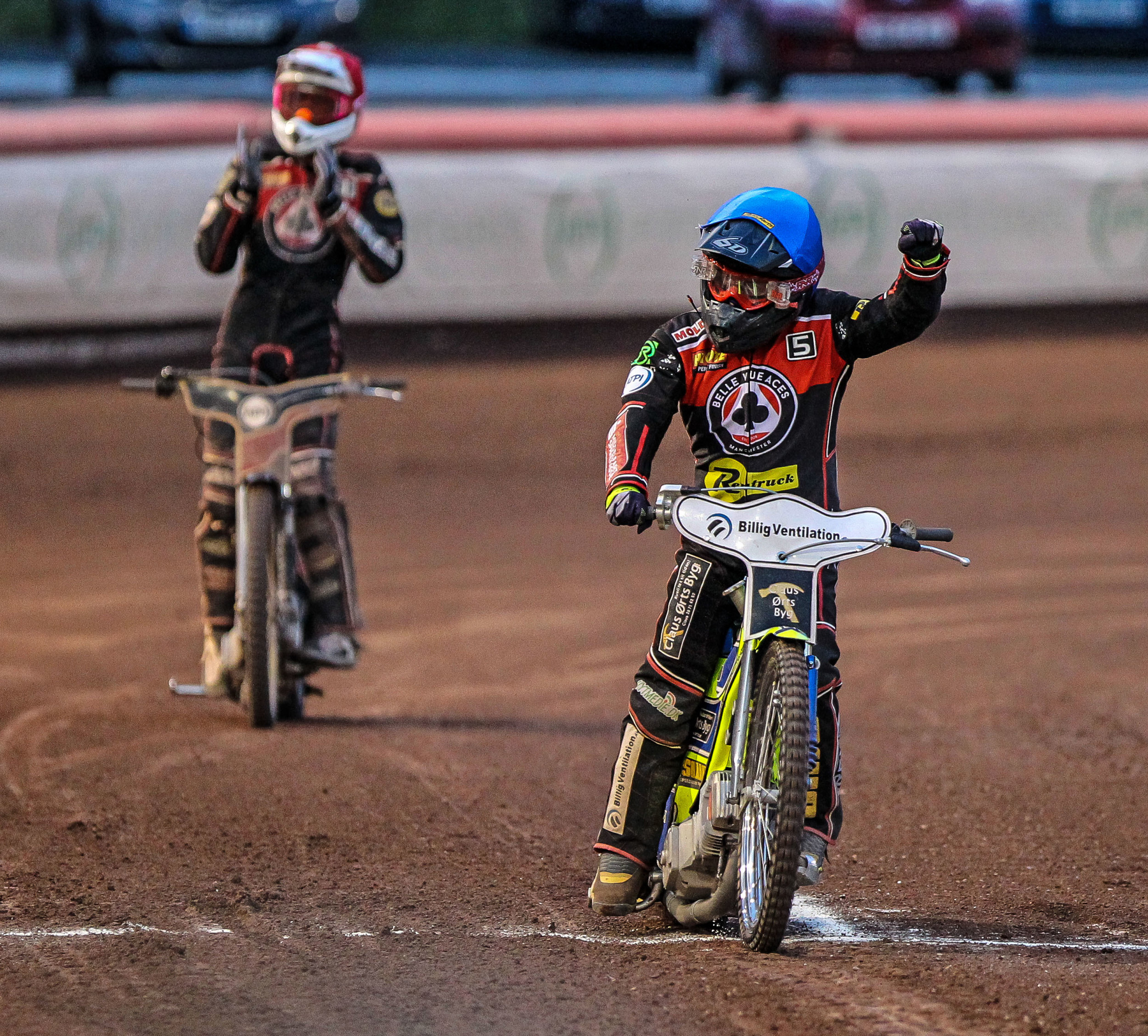 Kenneth Bjerre charged to a full 15-point maximum at the East of England Arena