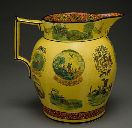 Fig. 1: English yellow-glazed earthenware jug, c. 1790. HD 2017.5.18, Gift of Doris and Stanley Tananbaum via Winterthur Musem. Photo by Penny Leverett.