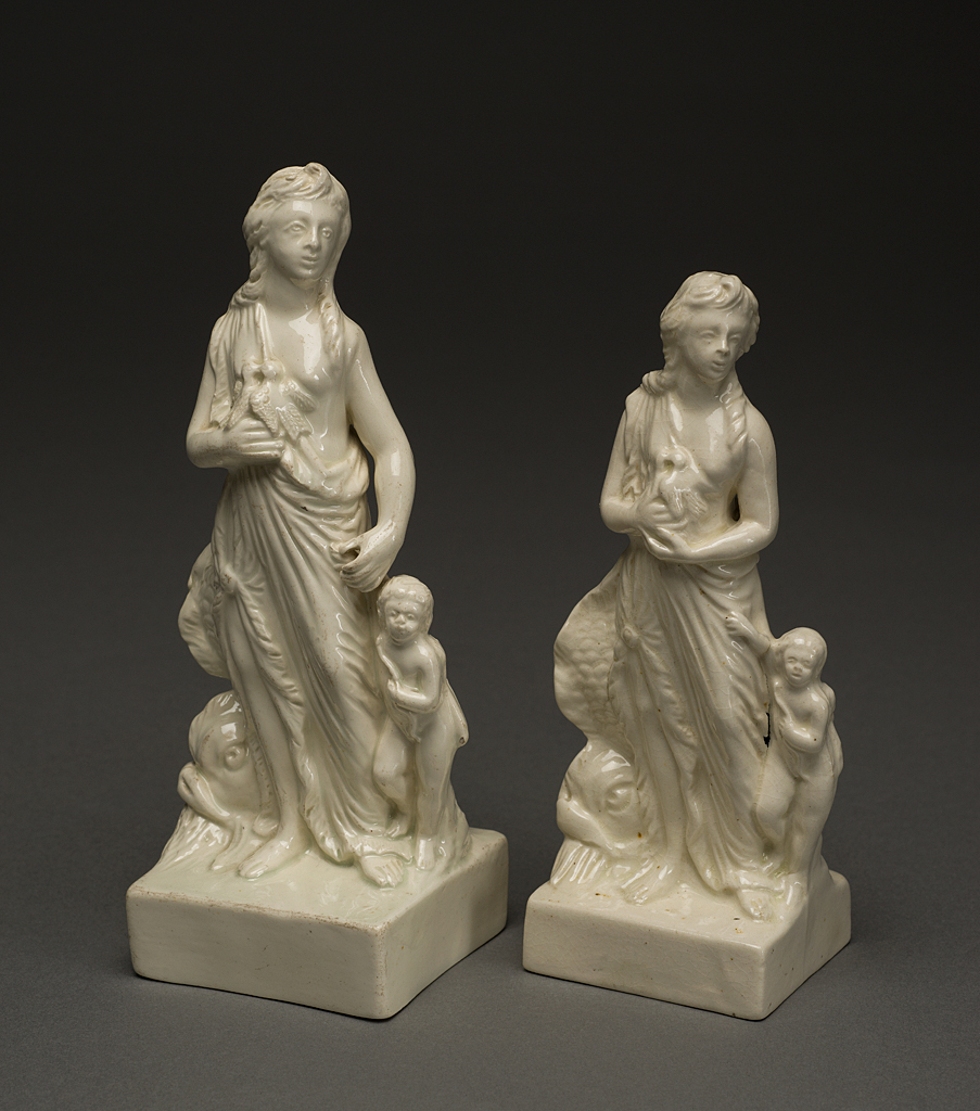 "Photo Caption: Figure of Venus (left), unmarked but attributed to the Leeds Pottery, Leeds, Yorkshire, England, ca. 1790. Lead-glazed earthenware (pearlware). 2006.33.106.1, Museum Purchase with funds provided by Ray J. and Anne K. Groves.    Figure of Venus (right), Seniors Family, Leeds, Yorkshire, England, ca. 1890s-early 1900s. Impressed ""LEEDS POTTERY"" Lead-glazed earthenware (creamware). 2006.33.106.2, Museum Purchase with funds provided by Ray J. and Anne K. Groves."