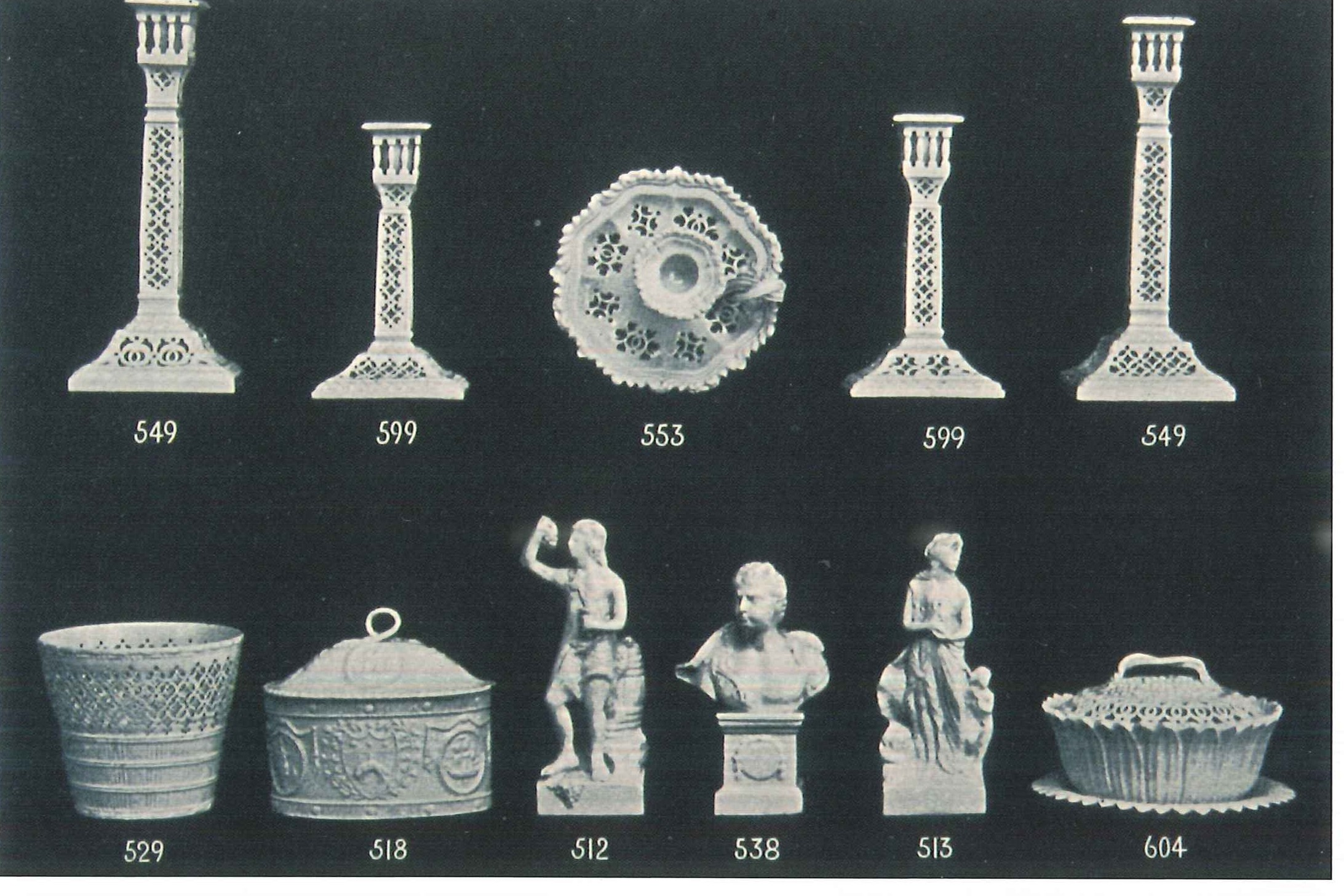 From  Reproductions of Leeds Pottery, Queen's Ware, Decorated and Silver Lustre, Basalt, & c., & c.,  W. W. Slee,  30 Duncan St., Leeds, England , 1913. From John Griffin's  The Leeds Pottery, 1770-1881 , Vol. 2.