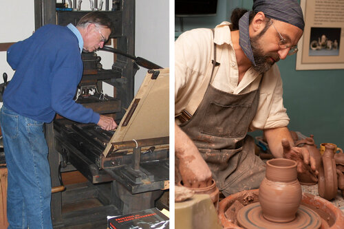 Historic Trade Demonstrations: Letterpress Printing with Carl Darrow and Redware Pottery with Rick Hamelin
