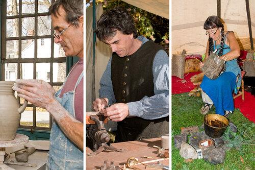 Historic Trade Demonstrations: Stoneware Pottery with Mark Shapiro, Gunsmithing with the Day Family, White Pine Bark and Ash Bark Basketmaking with Jennifer Lee