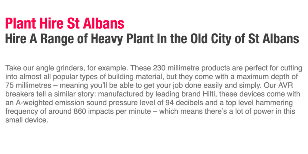 Rhinos Plant Hire - SEo-friendly sales copy FOR a plant hire firm