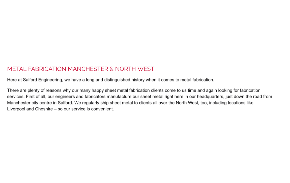 Salford Engineering Solutions - ARTICLE WRITING FOR A STEEL FABRICATION BUSINESS